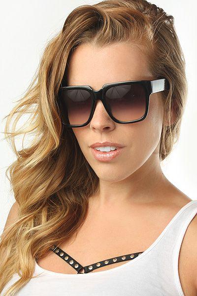 'Kit' Oversized Flat Top Sunglasses - Black/Gradient - 5236-6