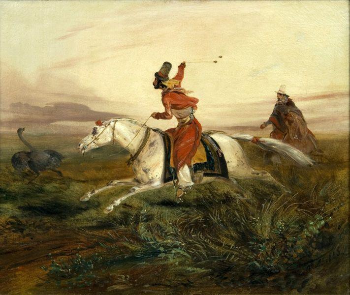 Johan Moritz Rugendas | Boleando avestruces | 1845 | Óleo sobre tela | 46 x 55 cm