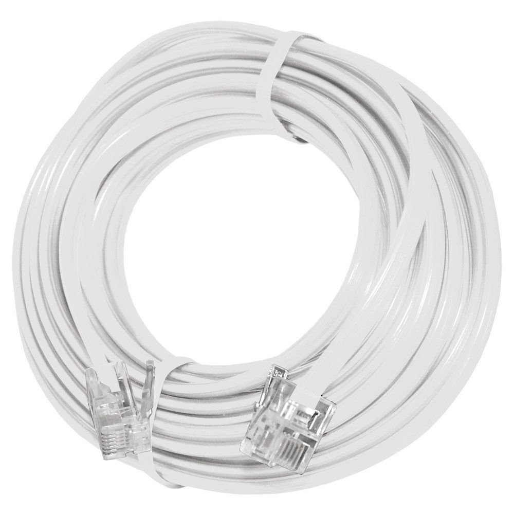 White 15 Ft Telephone Modular Line Cord Phone Cable Extension Wire Wiring 445 Rj11