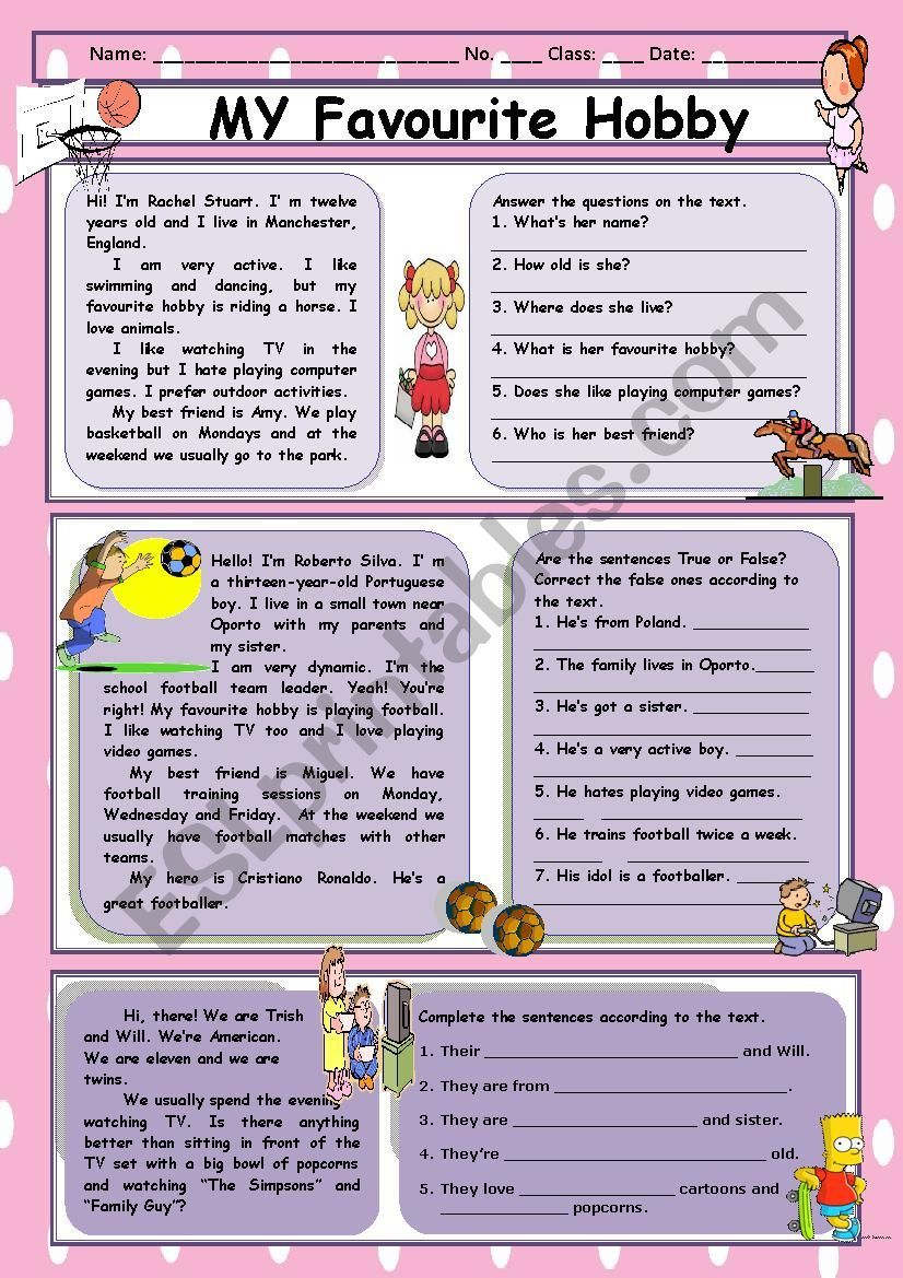 My Favourite Hobby Reading Comprehension Reading Comprehension Reading Comprehension Worksheets Comprehension [ 1169 x 826 Pixel ]