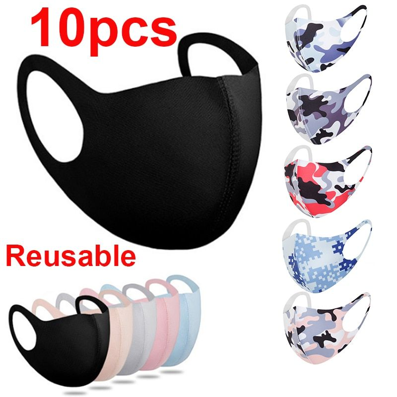 Photo of 10pcs Face Mask Black Mouth Mask Reusable Mask Washable Mascarillas Face Shield …