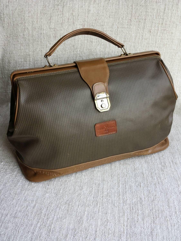 Charles Jourdan Vintage 70s Monogram Actif Collection Doctor Suitcase Charles Jourdan Vintage 70s Vintage Men