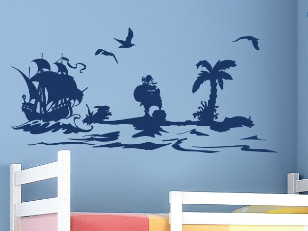 Wandtattoo Pirateninsel Kinder zimmer, Kinderzimmer