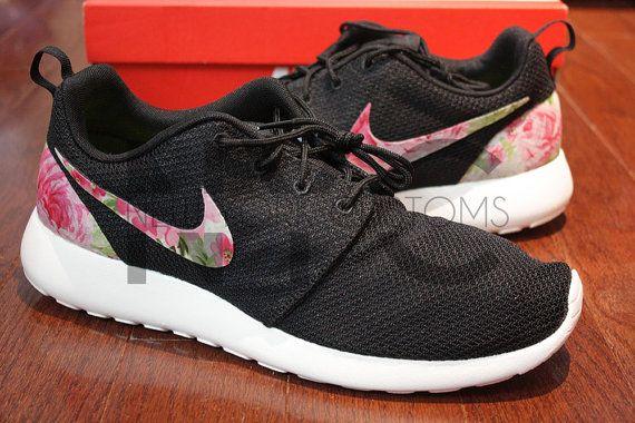 Nike Roshe Run Black White Rose Garden Batch Floral by