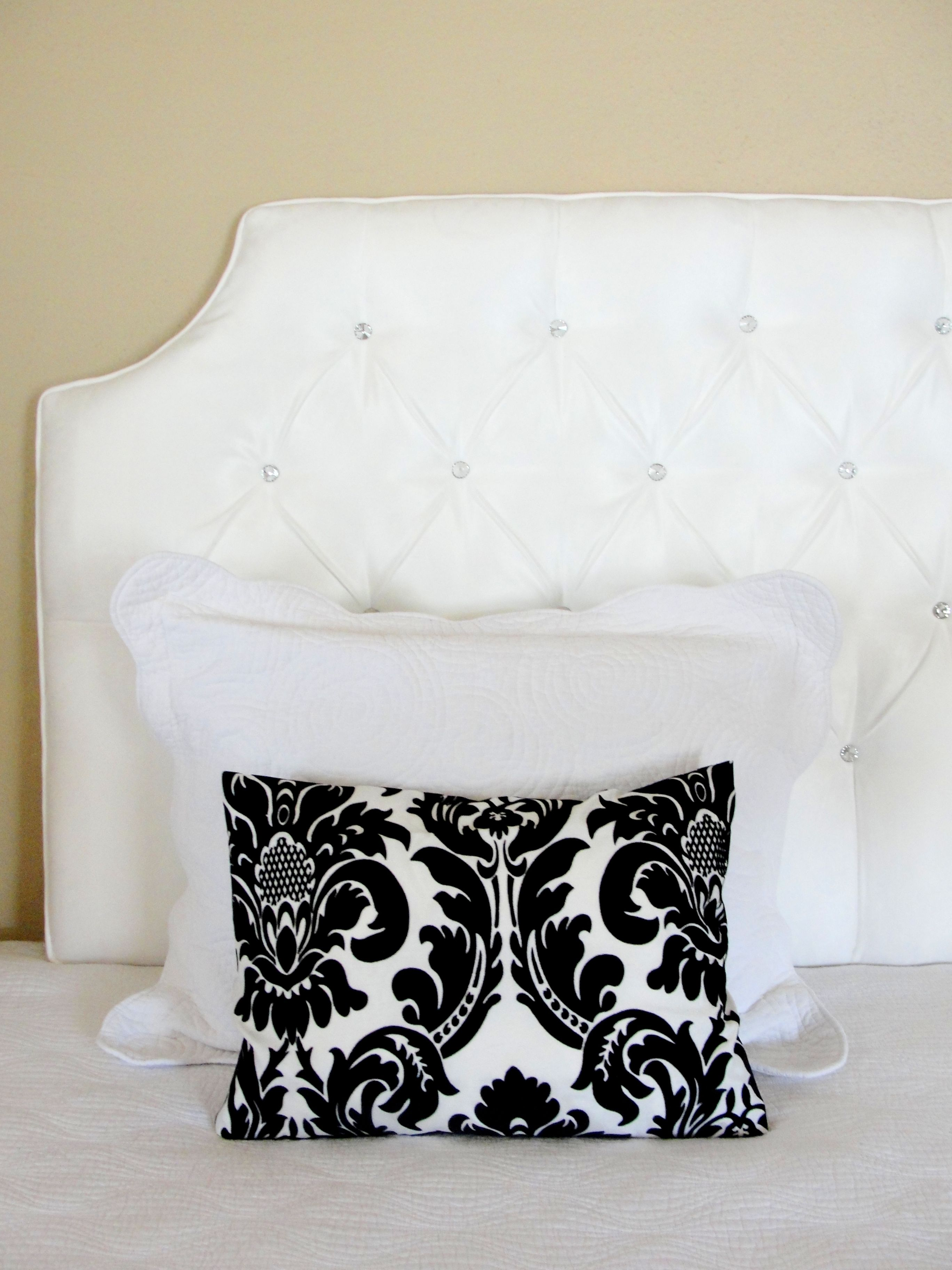 Custom Tufted Upholstered Headboard    Made to order    wall mounted     White tufted headboard crystal glass rhinestone buttons