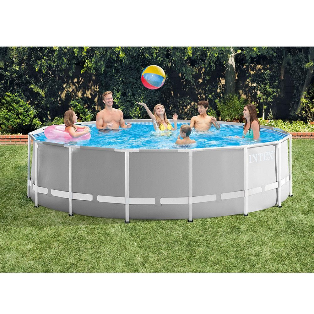 Intex Prism 15 Ft X 4 Ft Round Metal Frame Pool Above Ground Swimming Pool Set With Ladder Cover And Maintenance Kit 26725eh 28002e The Home Depot Above Ground Pool