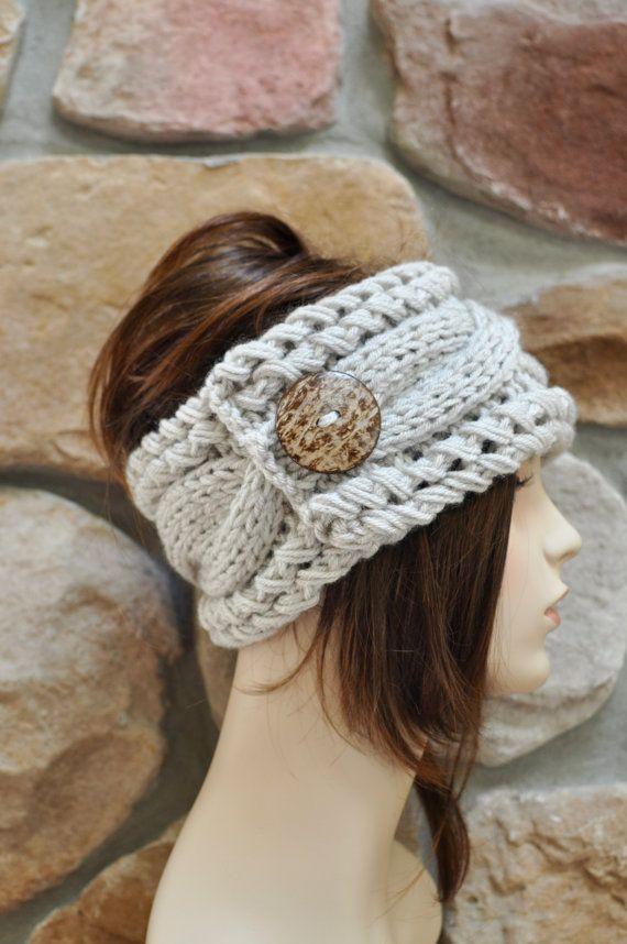 Earwarmer Cabled Ear Warmer Winter Crochet Headband Chunky Ear ...