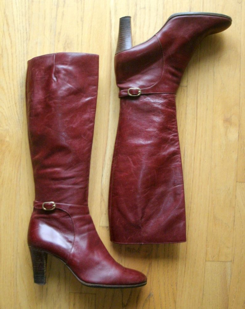 e112d24e01ff 70s Vintage Julianelli Italy oxblood burgundy buckle knee-hi boots 9B N 3