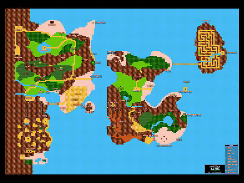 Zelda ii the adventure of link overworld poster map 24 x 18 for zelda ii the adventure of link overworld poster map 24 x 18 for the gumiabroncs Images