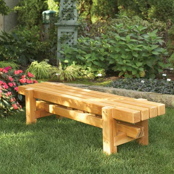 Durable doable outdoor bench woodworking plan using for Outdoor wood projects ideas