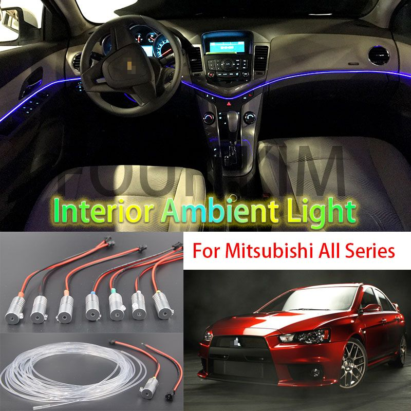 For Mitsubishi All Car Metal Head High Brightness Fiber Optic Lights Car Interior Lights Ambient Lamp Cold Light Guide B Lighting Guide Car Interior Car Lights