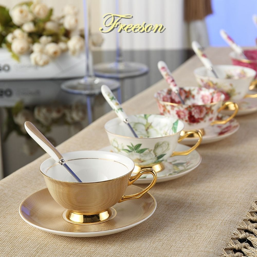 Europe Noble Bone China Coffee Cup Saucer Spoon Set 200ml