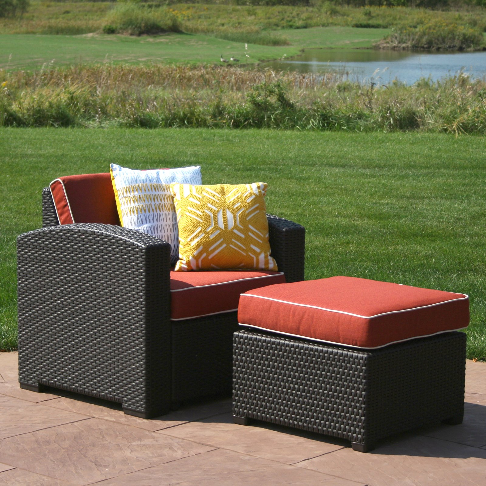 Outdoor Strata Furniture Cielo Deep Seat Chair And Ottoman