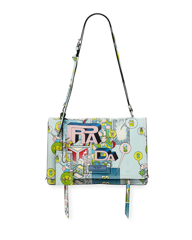 2b917f263461b9 PRADA ETIQUETTE MEDIUM COMIC PRINT SHOULDER BAG. #prada #bags #shoulder bags  #leather #