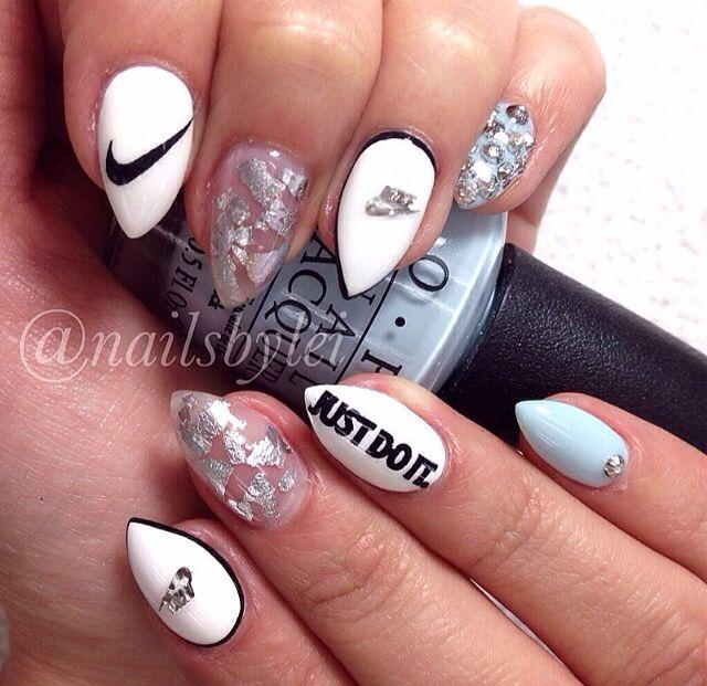 Pin By Evelyn Moreno On Nails Nike Nails Sports Nails Acrylic Nail Shapes