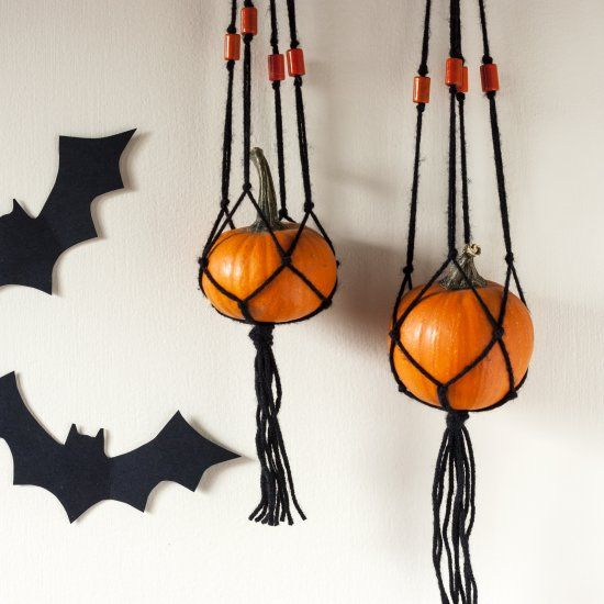 Maker your own DIY Mini Pumpkin Macrame Hangers for a fun Halloween - halloween decorations to make on your own