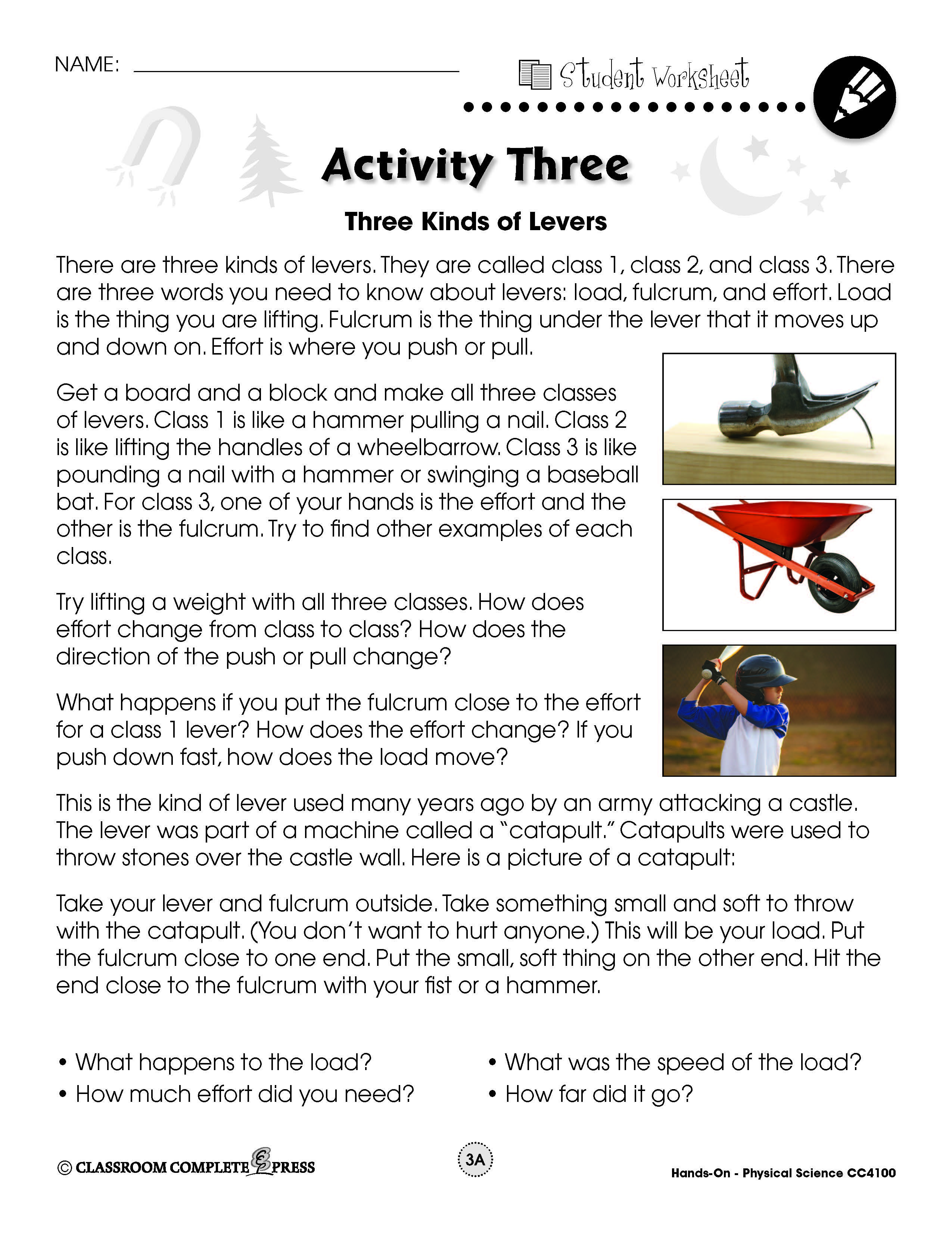 Experiment With Three Kinds Of Levers In This Free