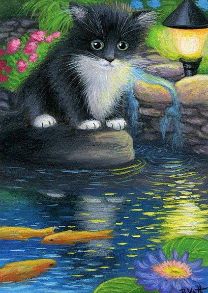 Tuxedo kitten cat koi fish pond garden light original aceo for Koi pond maine coon cattery
