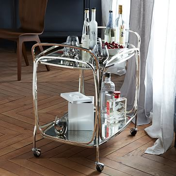 I have such a crush on this bar cart! --> Foxed Mirror Bar Cart #westelm