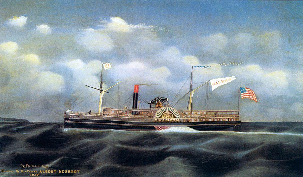La nave a vapore Calhoun nel dipinto di James Bard. Verso la metà dell'Ottocento le navi a vapore attraversavano regolarmente l'Atlantico. Dipinto del 1857. (Newport News, Mariner's Museum)