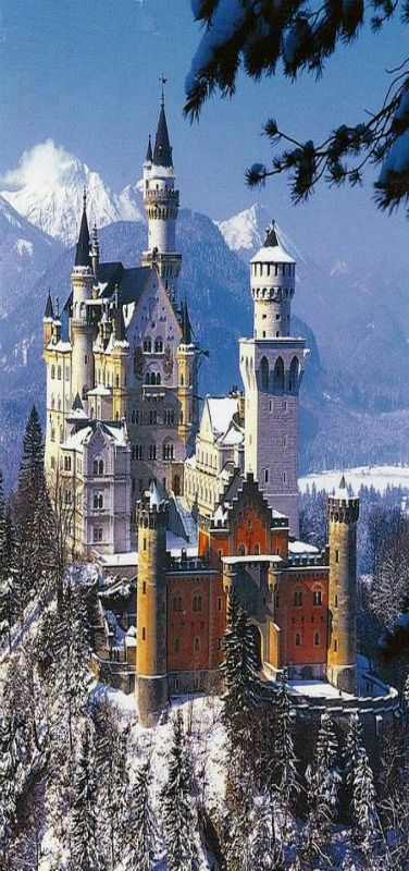 Neuschwanstein Castle, Germany. I once dreamed of this as a little girl that I was on an old bus heading to school and this was on the way across a riven. I think I lived here in a past life because it wasn't till I was an adult that I saw this was actually a real place!