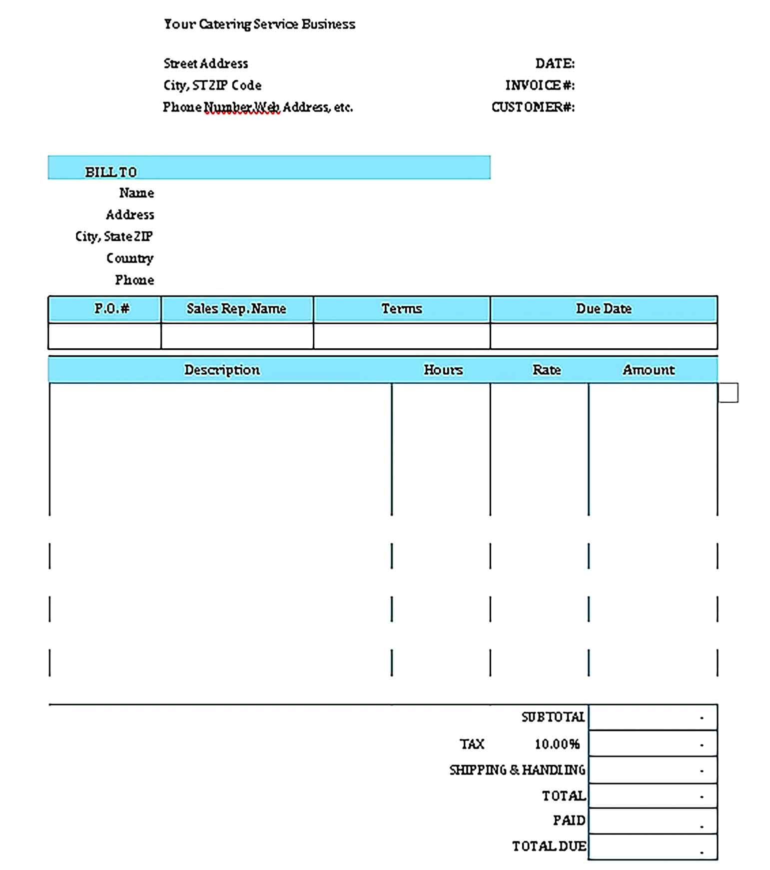Catering Invoice Template Sample Invoice Template Catering Services Business Template