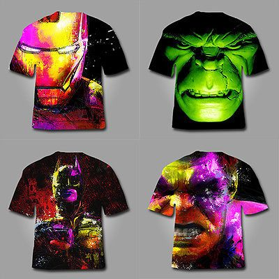 44989f491 Full Digital 3D Graphic T shirt print - Incredible Hulk Iron Man Bat Man  Marvel