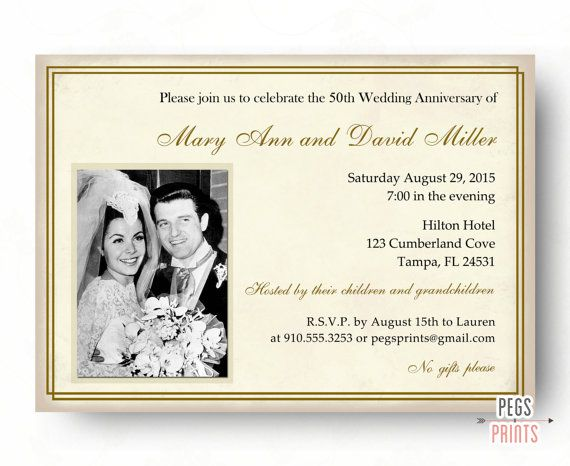 50th Wedding Anniversary Invitation Ideas: 50th Wedding Anniversary Invitations 50th By PegsPrints On