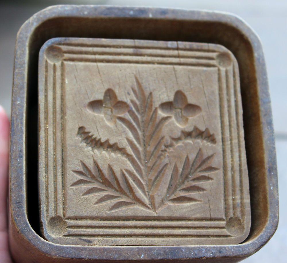 Square Primitive Carved Folk Art Antique Wooden Butter