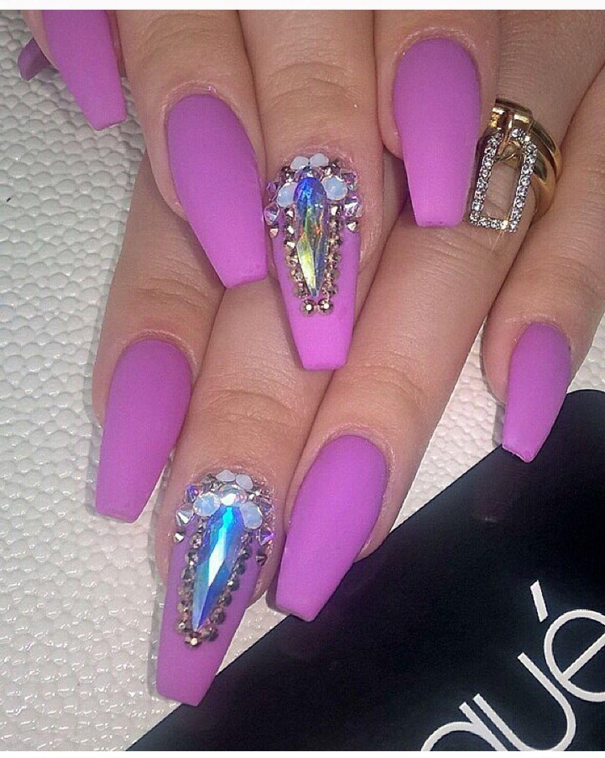 Matte Lilac jeweled nail art by @laquenailbar Coffin Nails ...