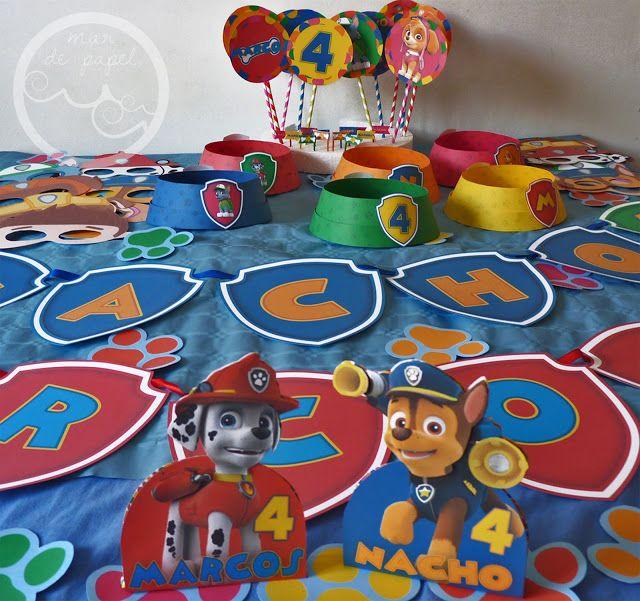 Mar de papel los 4 a os de nacho y marcos patrulla - Decoracion de cumpleanos de la patrulla canina ...