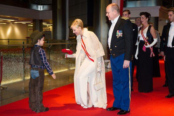 Prince Albert II of Monaco and Princess Charlene of Monaco arrive at the Monaco National day Gala concert as part of Monaco National Day Celebrations at Grimaldi Forum on November 19, 2012 in Monaco, Monaco.