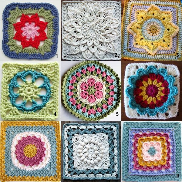 Here are nine patterns for a granny flower square. Crochet flower ...
