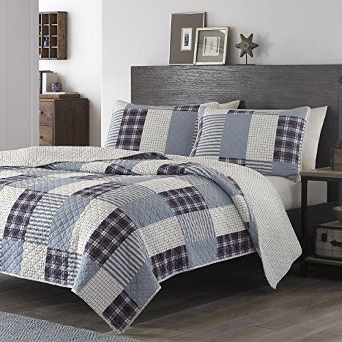 BEAUTIFUL MODERN PATCHWORK BLUE TAUPE GREY PLAID COTTON QUILT SET QUEEN OR KING