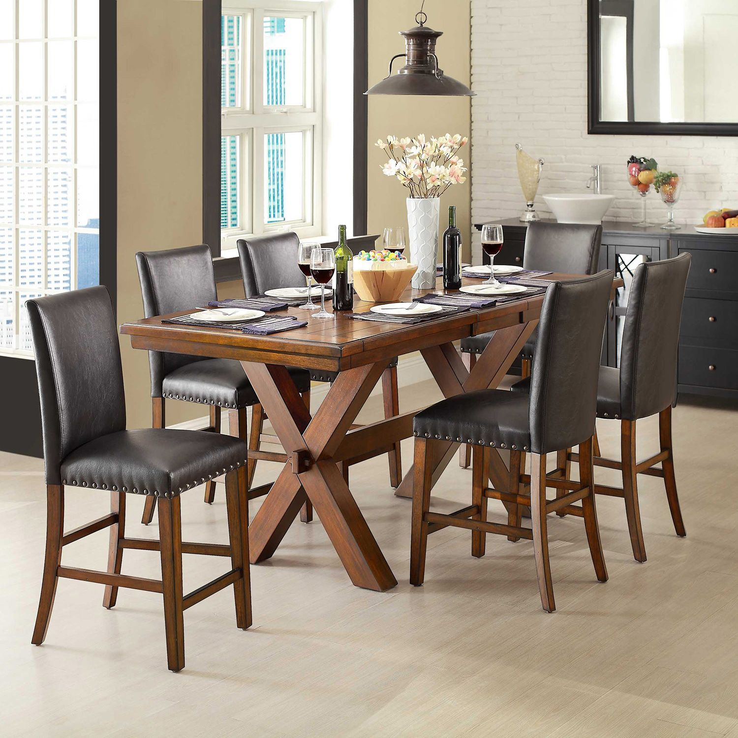 Crossridge Counter Height Dining Set 7 Pc Sam S Club Counter Height Dining Sets Glass Dining Room Table Dining Room Table