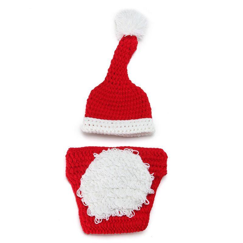 Santa Clause Handmade Crochet Hat Short Costume Set