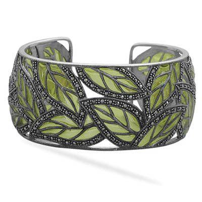 Marcasite Leaf Statement Bracelet. Emma Stine. Sterling Silver, Marcasite, Enamel