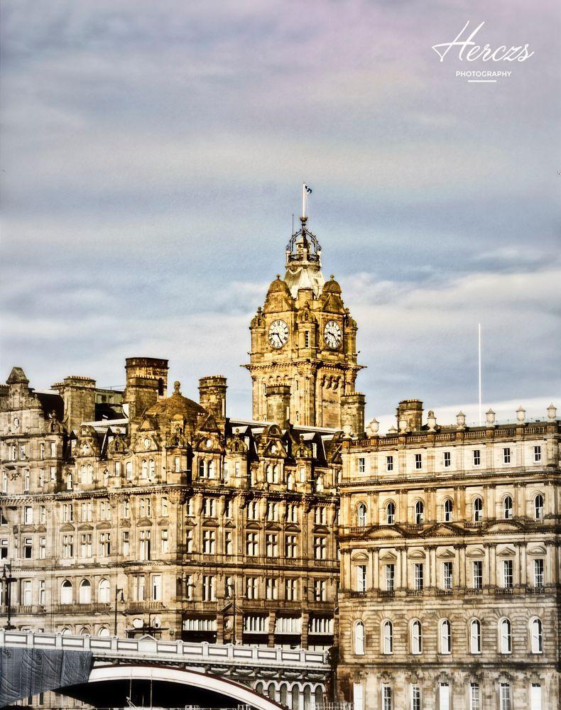 Clock Tower Over Balmoral Hotel At Waverley Station Edinburgh By