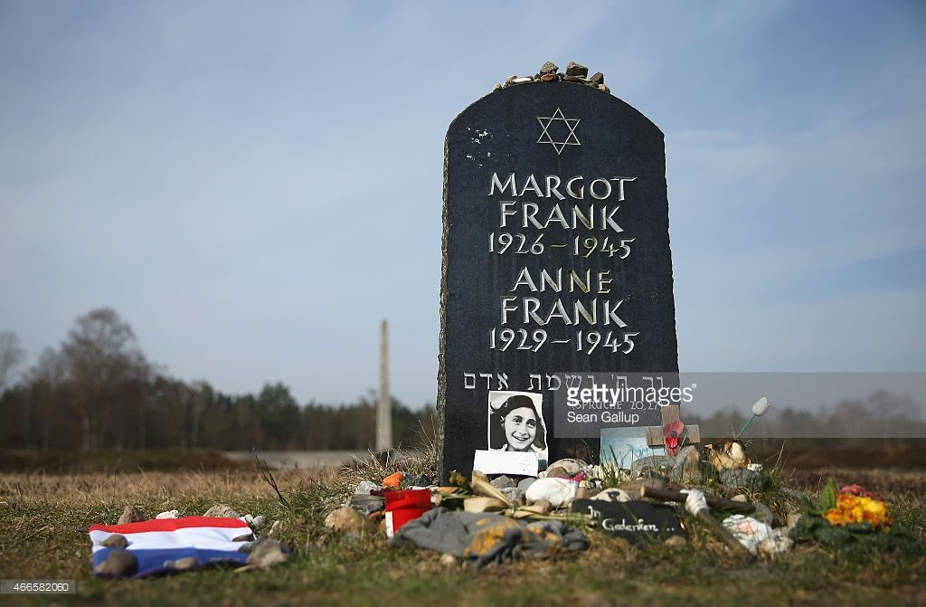 Symbolic tombstone commemorates Anne Frank and her sister Margot on the site of the former...