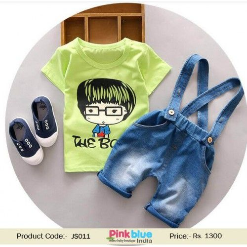 4fd3255502c Buy Baby Girl Denim Dungarees with Green Top