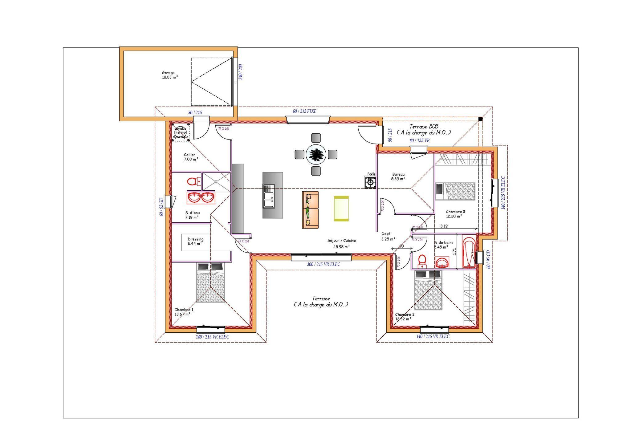 Plan Maison Toit Plat good plan maison en l 100m2 #2 - plan maison en u ouvert 224 toit