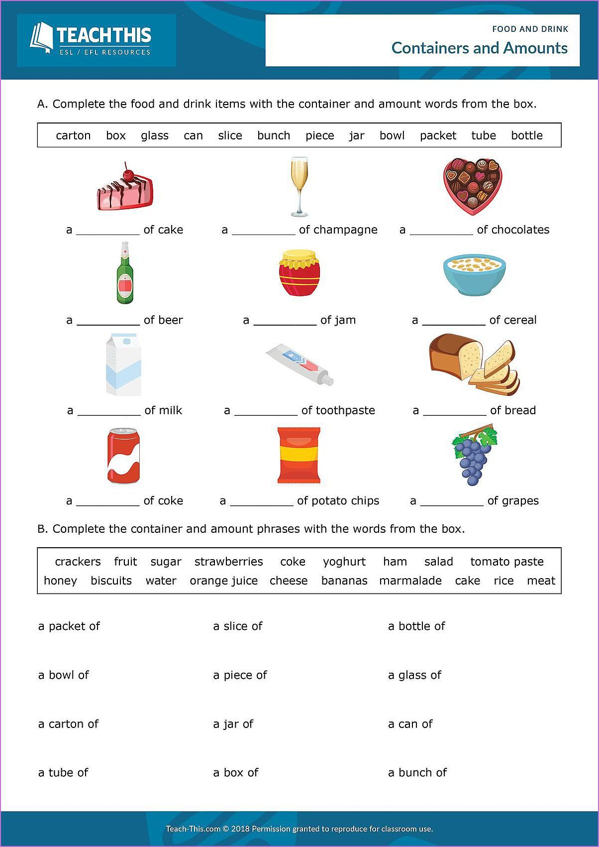 Esl Containers And Amounts Worksheet