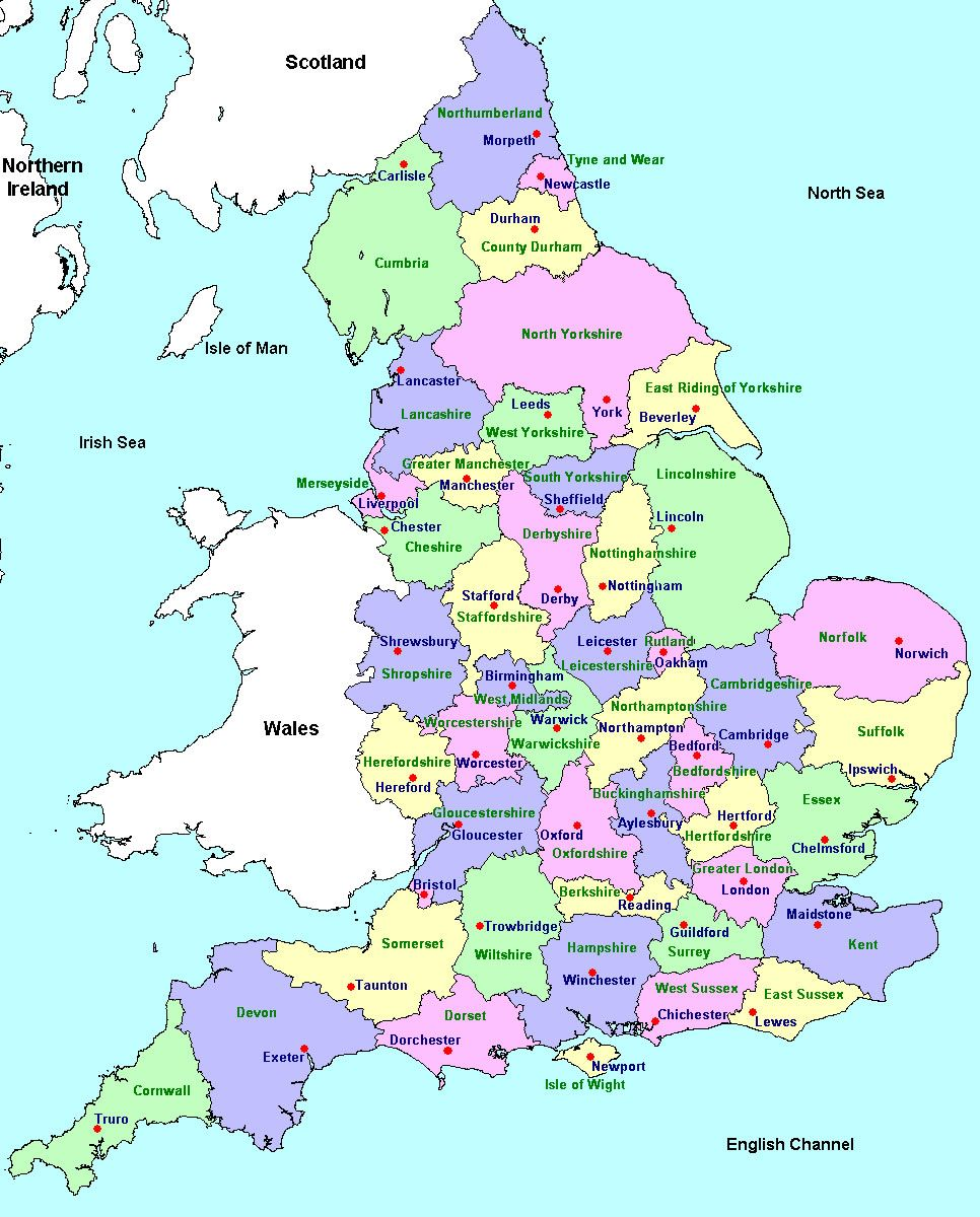 Printable Map Of Uk.Counties And County Towns Geo Maps England In 2019 England
