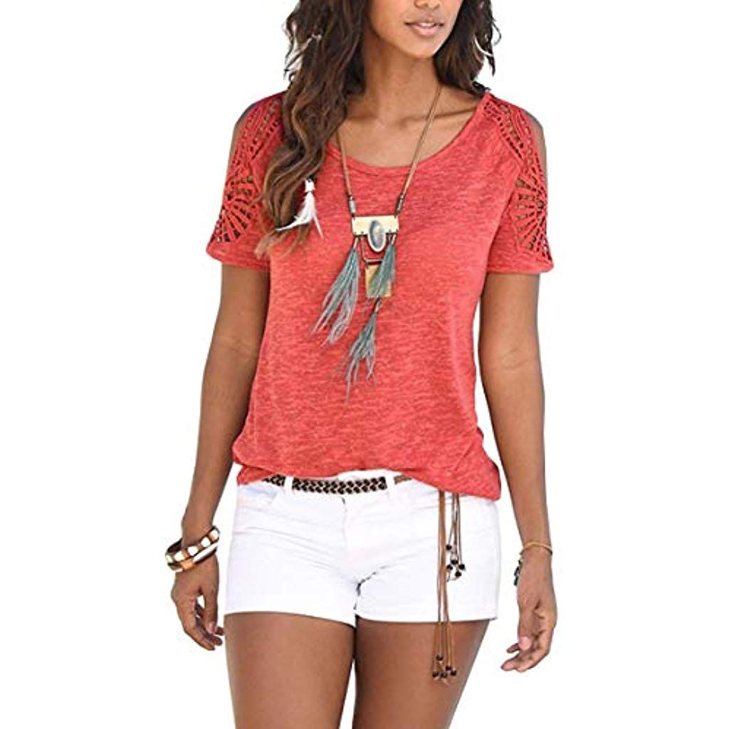 Damen Mode Süßen Sommer Kurzarm Floral Hemd Tunika Shirt Lose Tops T-Shirt Bluse