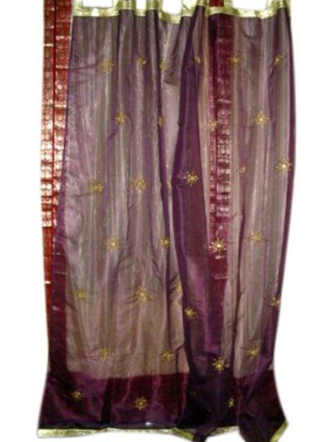 Organza Sheer Curtains Purple Sari Curtains Indian Sheer