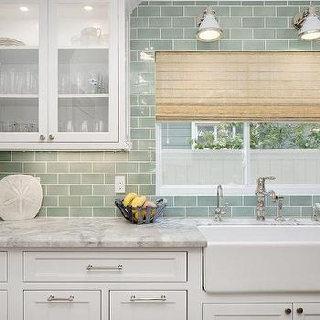 Green Kitchen Backsplash: 37 Amazing Kitchen Tile Backsplash With Brass Schluter