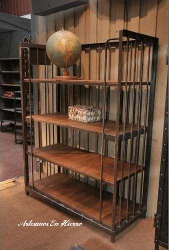 Biblioteca retro hierro con madera new industrial vintage for Muebles industriales metal baratos