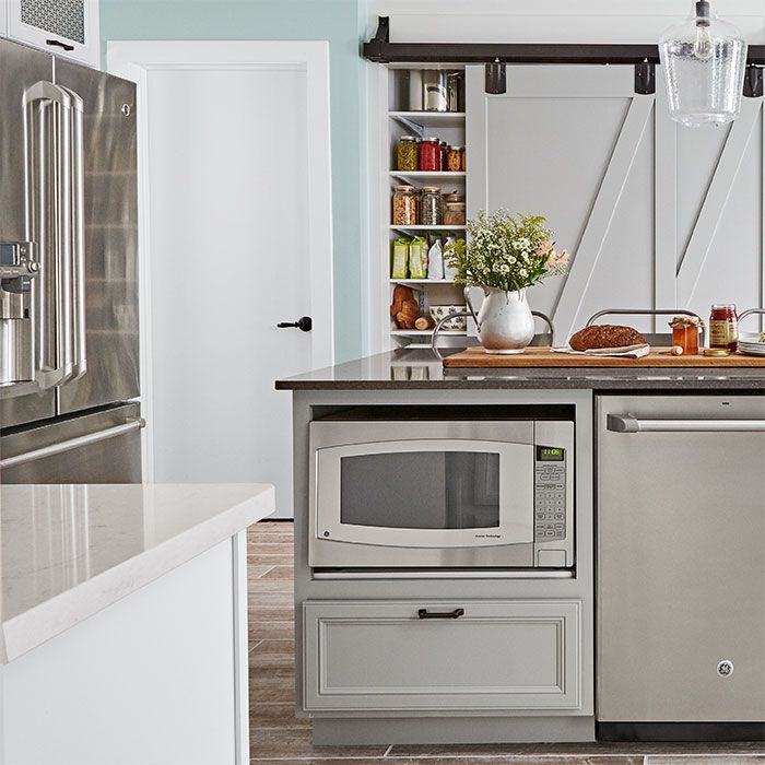 Kitchen Island With Built In Microwave.