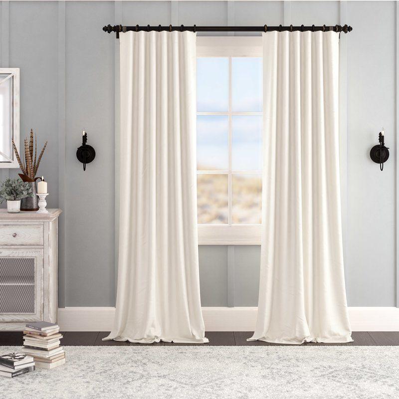 Albert Velvet Solid Blackout Thermal Rod Pocket Single Curtain