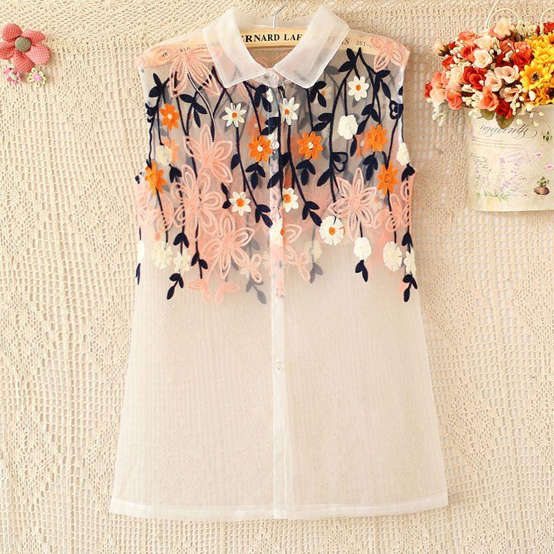 83a566264de Pink lapel sleeveless embroidered organza shirt Kurti Embroidery
